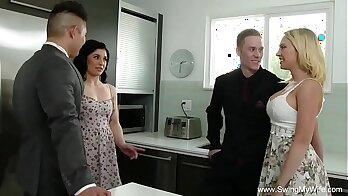 Blonde MILF With Nice Thick Torso Is Slurping On Dick