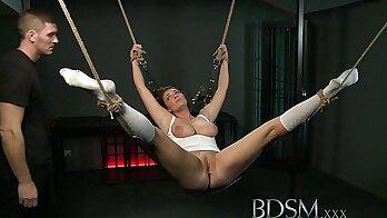 Inked bondage slave fishnet