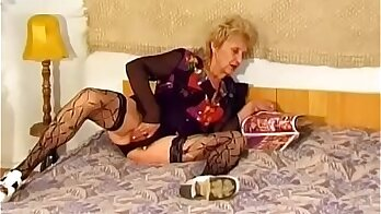 Hairy granny fucking a tough young studs dick