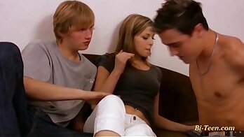 Bisexual Threesome and young beauty has sex with stranger
