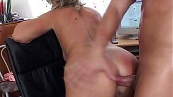 Big Tit Blonde Rides Boss to Anal