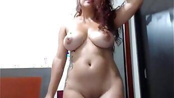 Crossdresser dancing on webcam with nude boy
