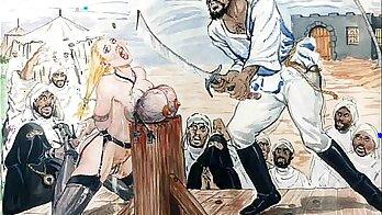 Extreme anal fisting in bondage
