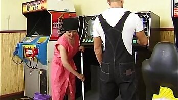 Hairy granny crushing young cock
