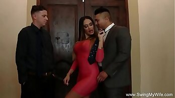 Blonde business lady wife talks of him to us to fuck