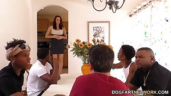 sensual interracial anal orgy stretching session