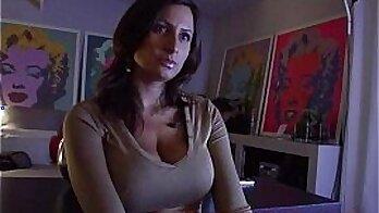 Brunette Wife with Huge Boobs Masturbates On The Sofa
