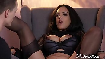 Busty latina in thigh high stockings