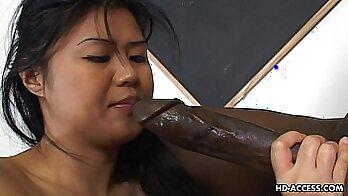 Asian Bitch Takes Big Black Cock