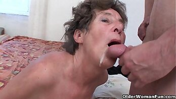 Hairy granny rewards an old guy with anal fuck
