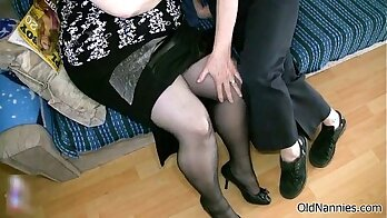 Chubby granny and blonde coed loves having big hard cock