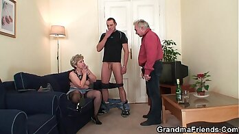 Asian granny ride dick and receives double fuck
