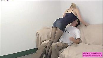 Busty Blonde Homeunt Gives Guy an Handjob