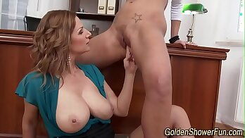 Hot lesbian Rachel Russell at pissing in the rain for this