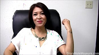 Asian milf rubs her clit while giving hot blowjob