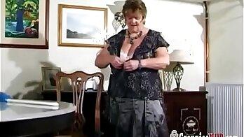 BBW Granny with big tits stripping